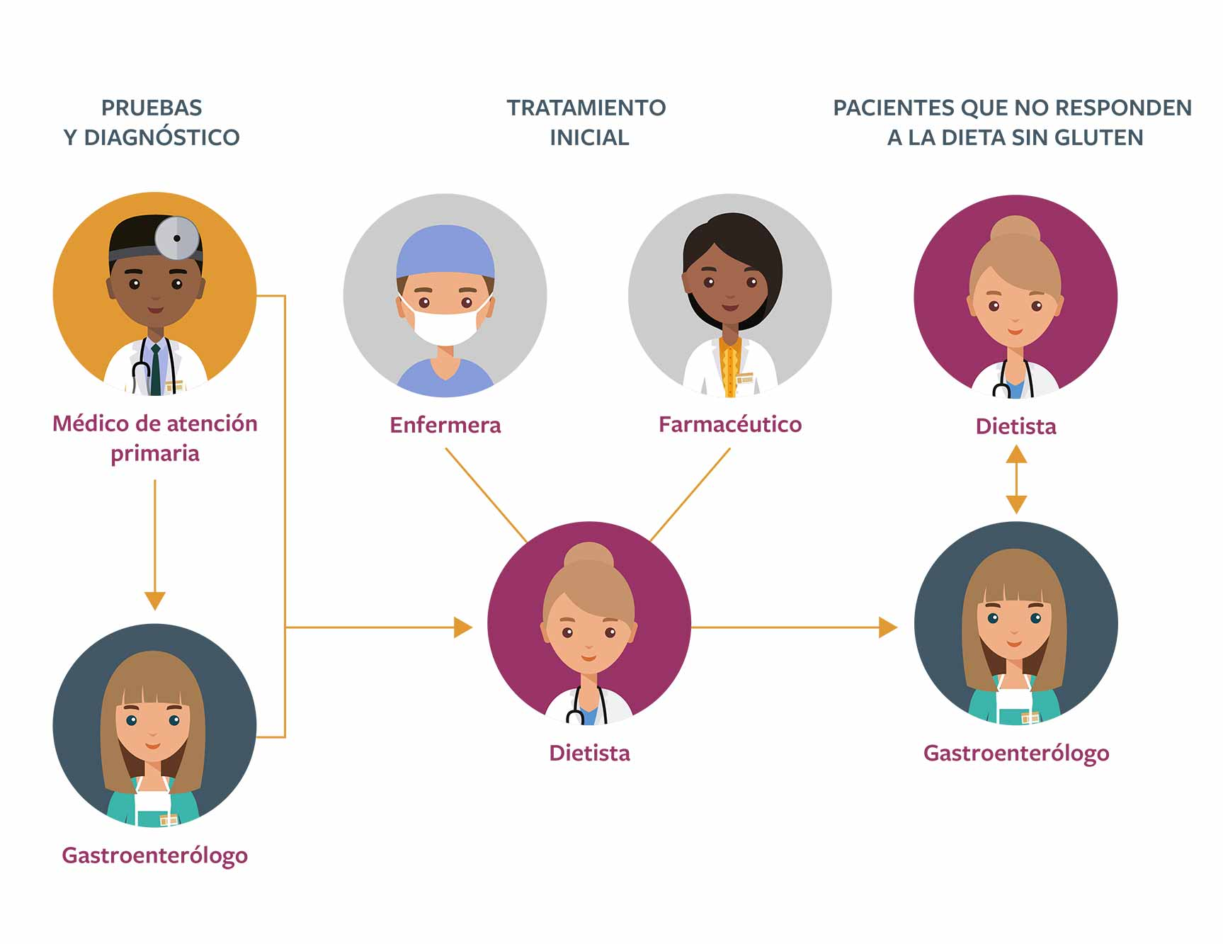 Diagrama de flujo del tratamiento de la EC por parte de los profesionales sanitarios