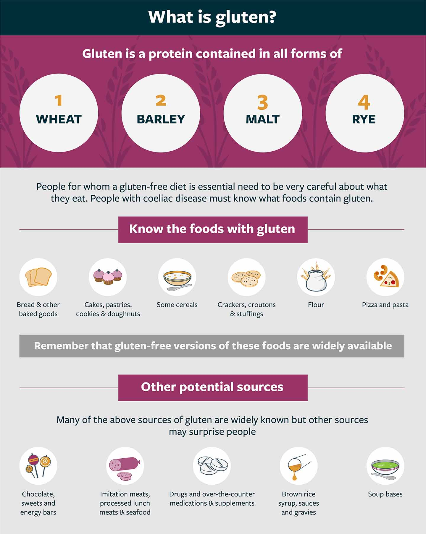 Information on foods containing gluten